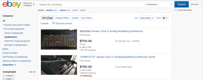 Ebay Used Synthesizers